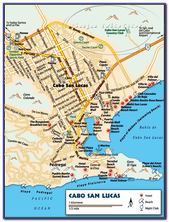 Map Of Hotels In Los Cabos Mexico