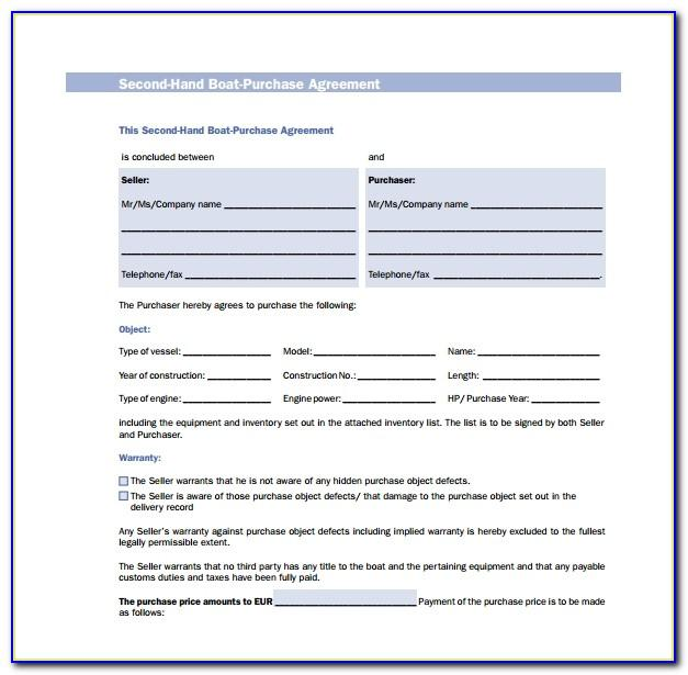 Marine Purchase Agreement Template