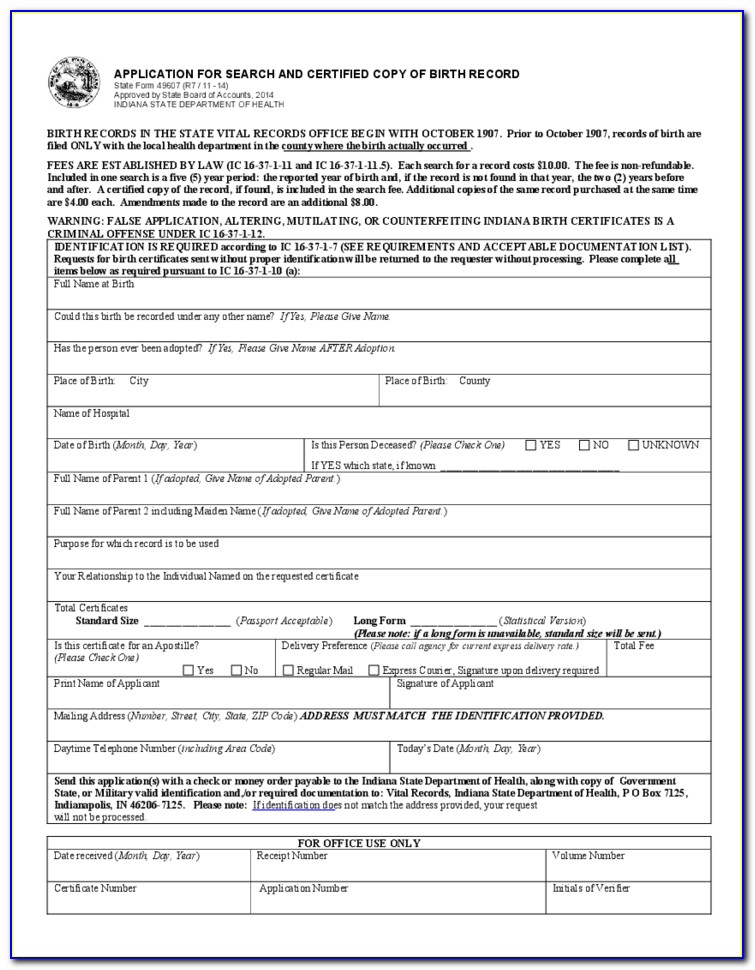 Marion County Indiana Birth Certificate Application