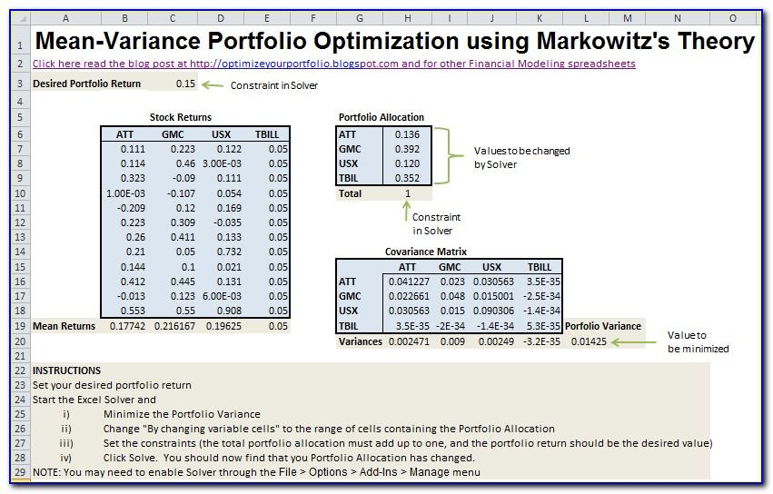 Mean Variance Optimization Excel Template