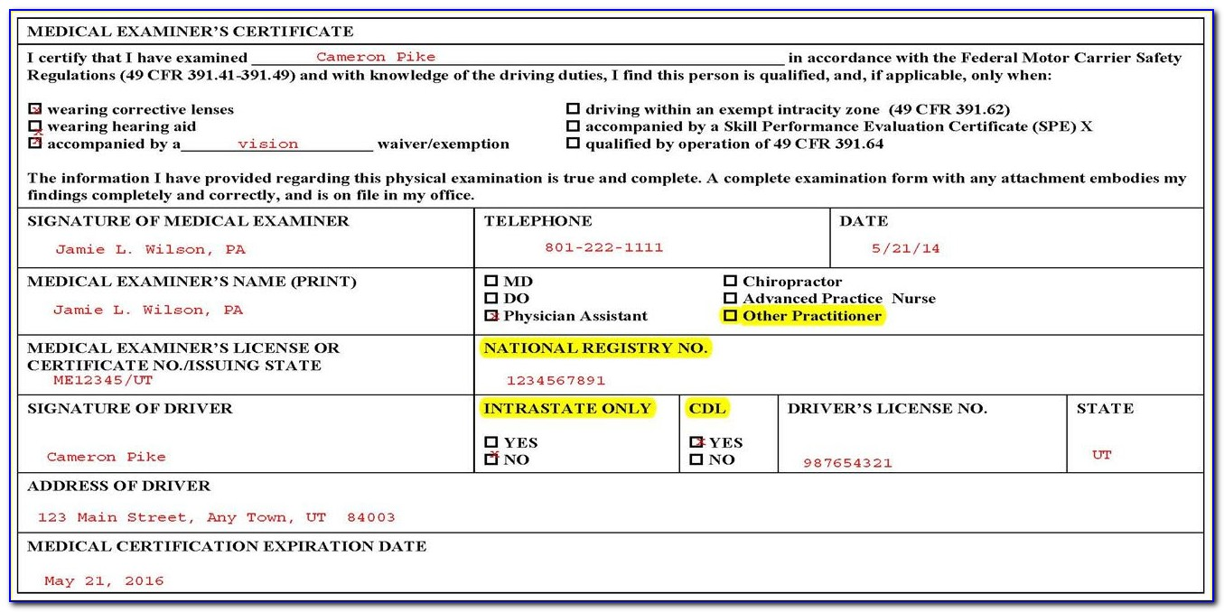 Medical Examiners Certificate Form