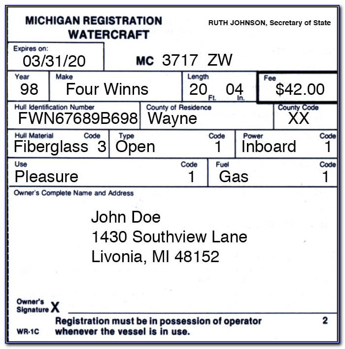 Michigan Boaters Safety Certificate Lost