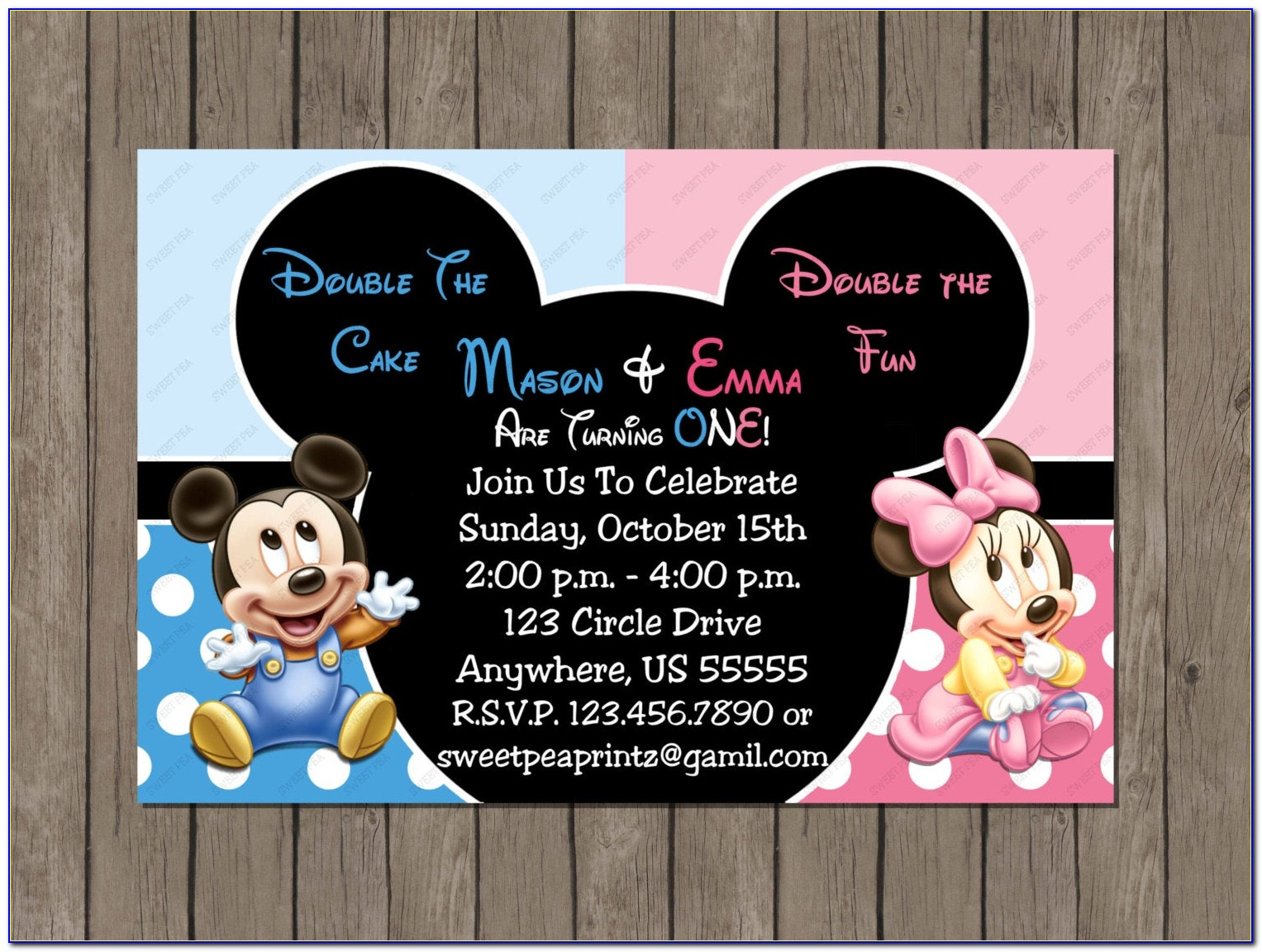 Mickey And Minnie Mouse Twin Birthday Invitations