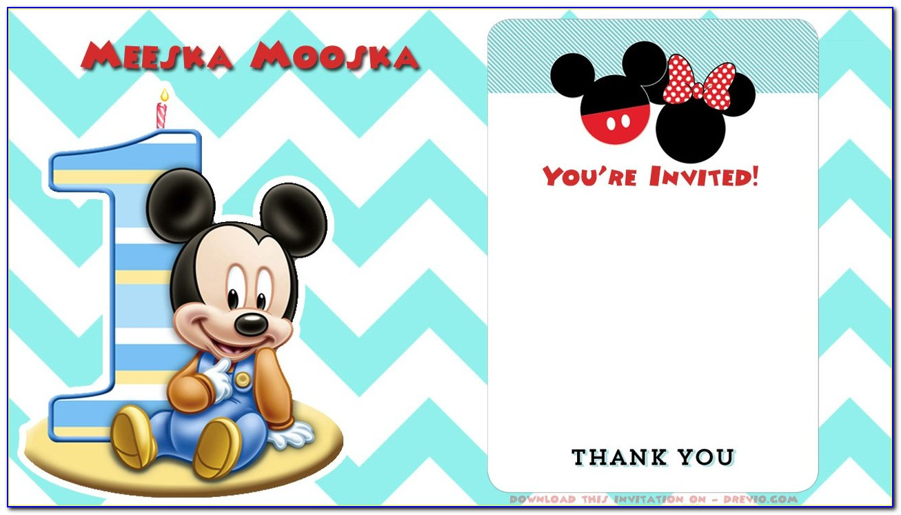 Mickey Mouse 1st Birthday Invitations Personalized