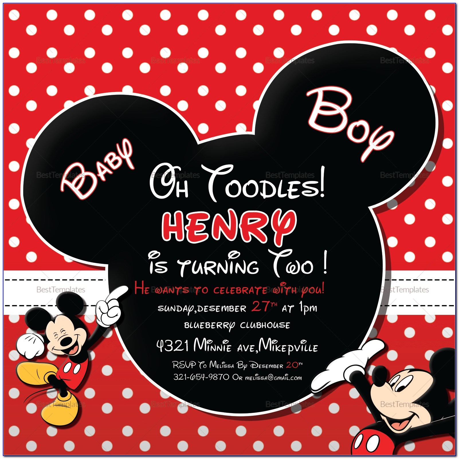 Mickey Mouse Invitations Free