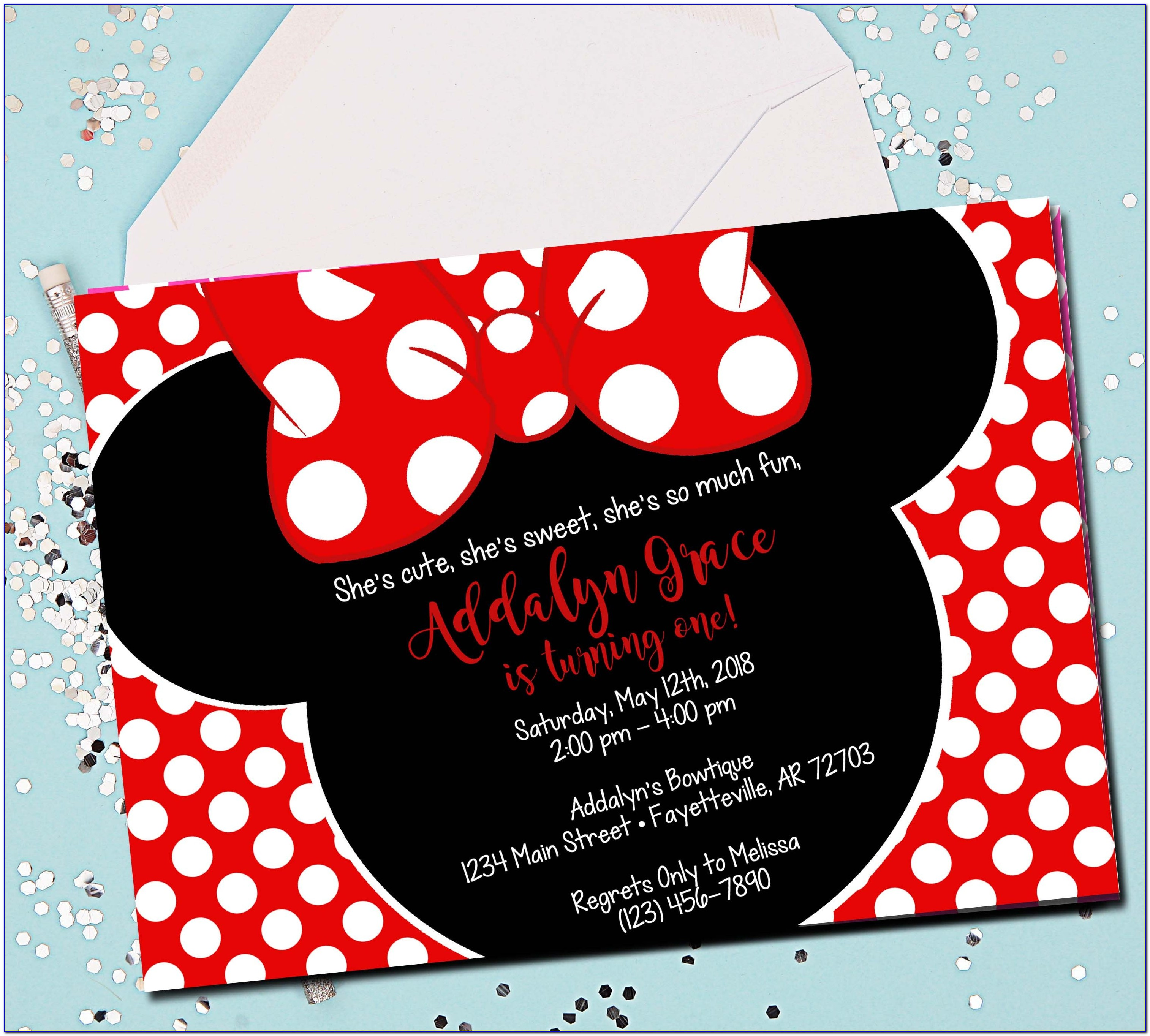 Minnie Mouse 1st Birthday Invitations Red