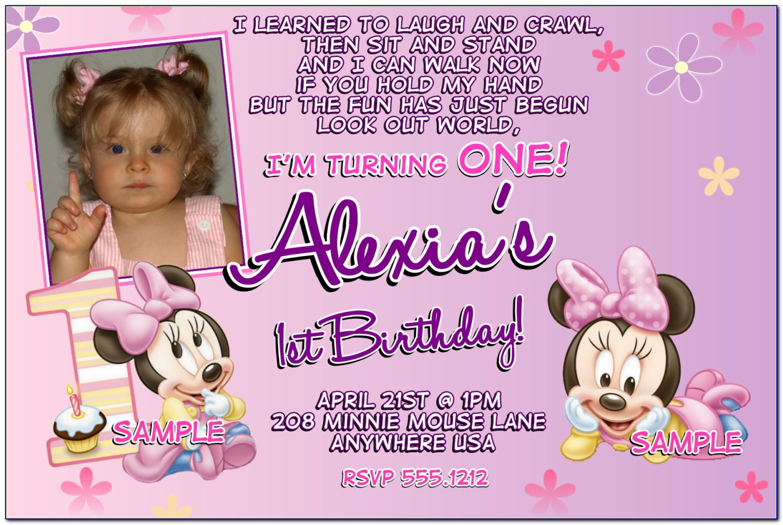 Minnie Mouse First Birthday Invitations Red