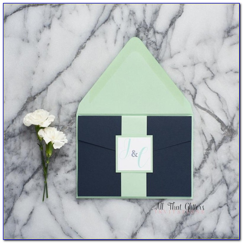 Mint Green And Navy Blue Wedding Invitations