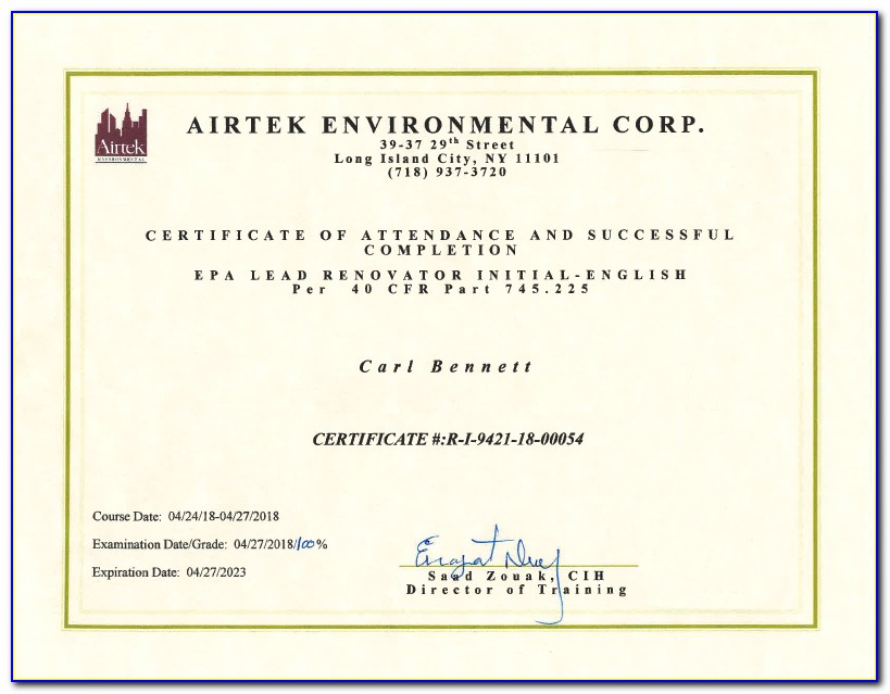Mold Remediation Certificate Of Completion