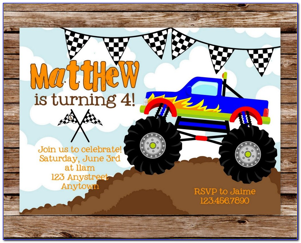 Monster Truck Party Invitations Free Printable