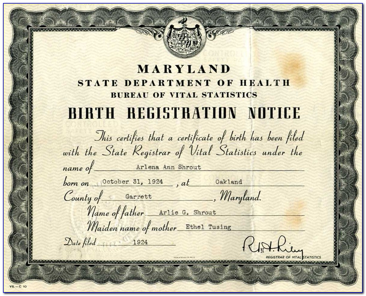 Montgomery County Birth Certificate Maryland