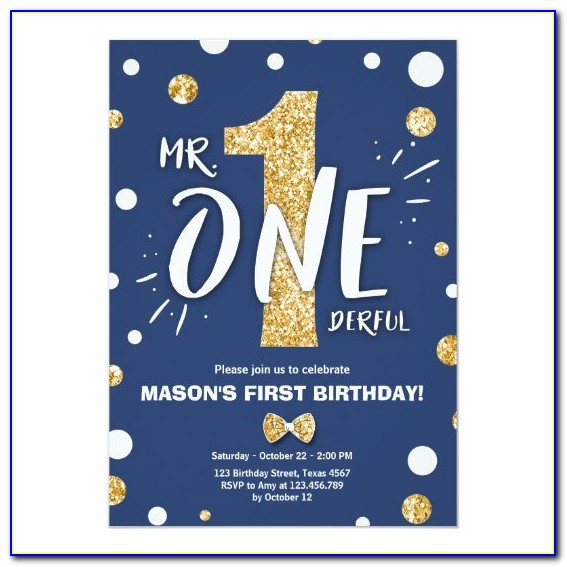 Mr Onederful Invitations Blue