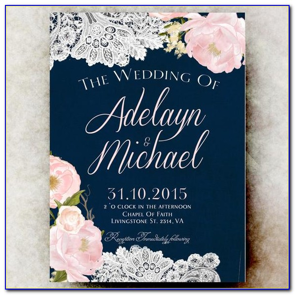Navy Blue And Blush Pink Invitations