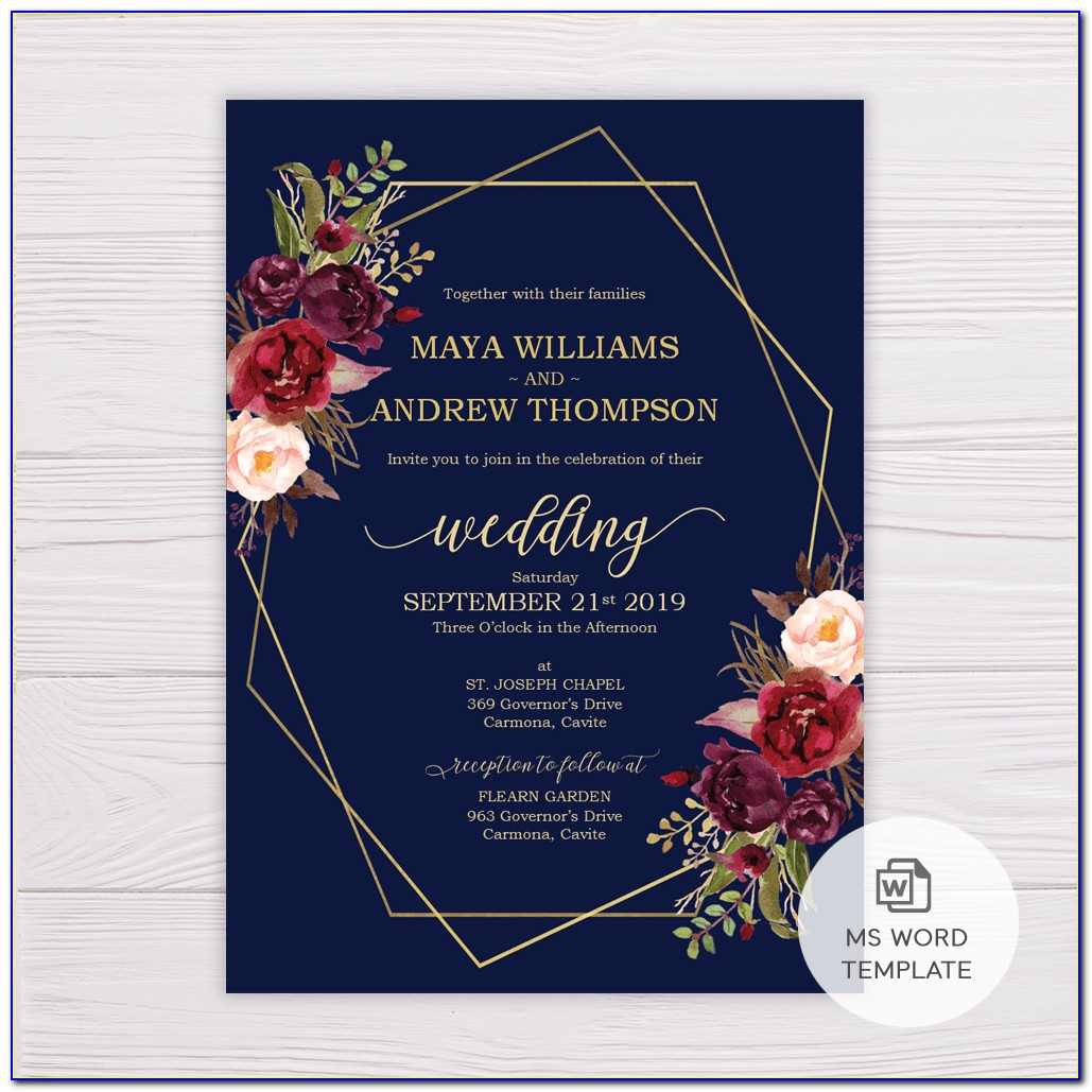 Navy Blue And Mint Green Invitation Card