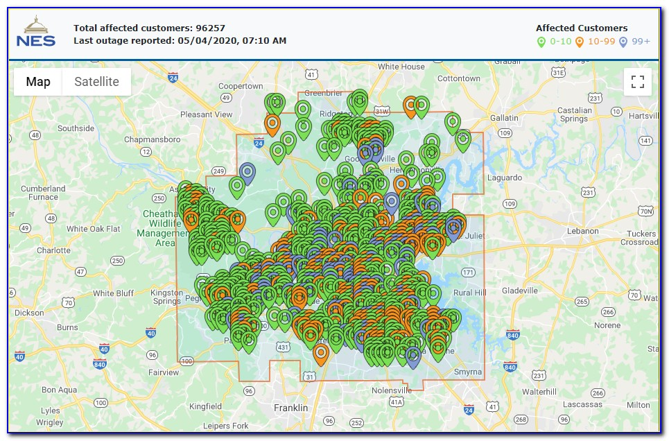 Nes Outage Map
