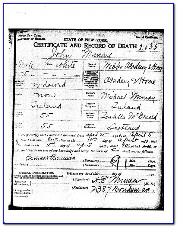 New York Death Certificates Archives
