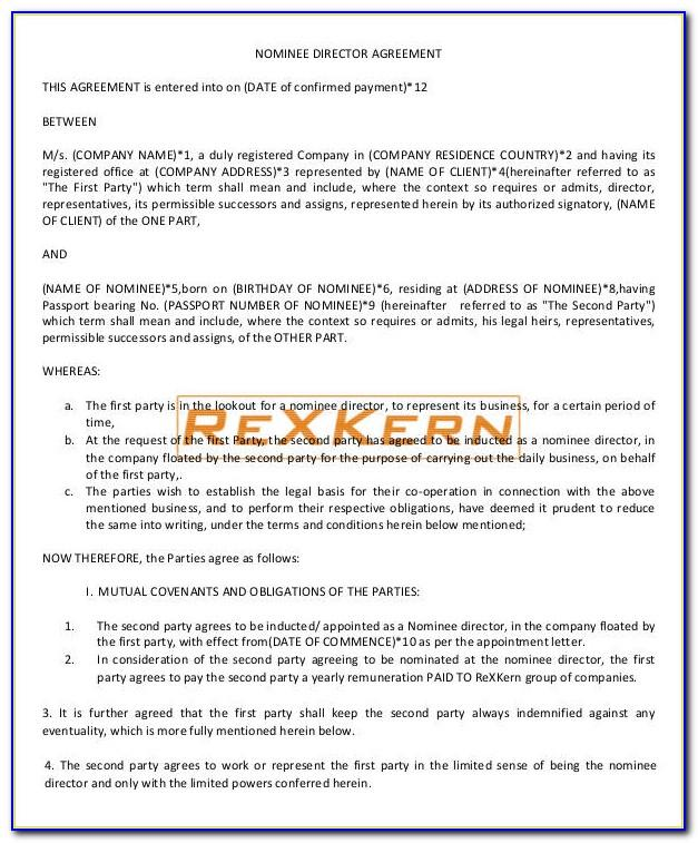 Nominee Agreement Form