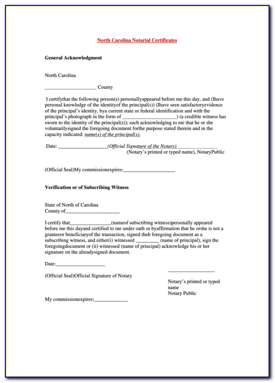 Notary Certificate Of Acknowledgement Nc