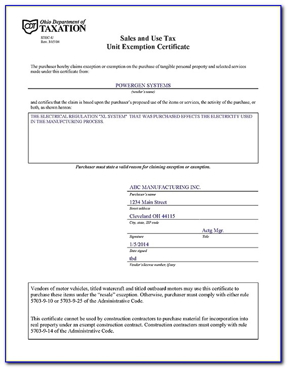 Ohio Sales And Use Tax Blanket Exemption Certificate Pdf