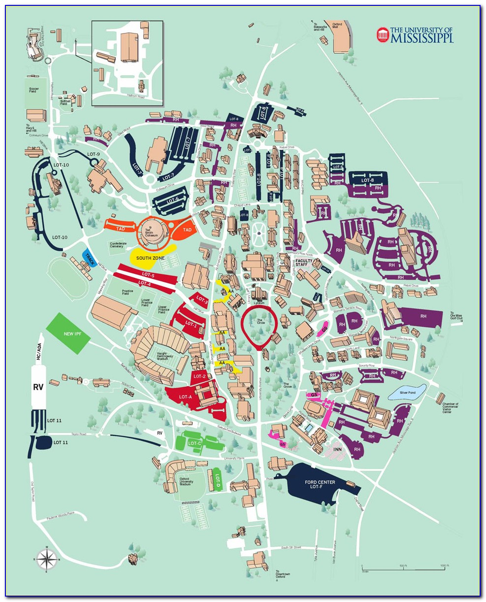 Ole Miss Campus Map Parking