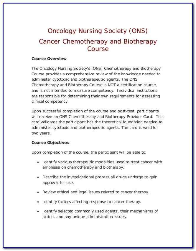 Ons Chemo Certification Verification