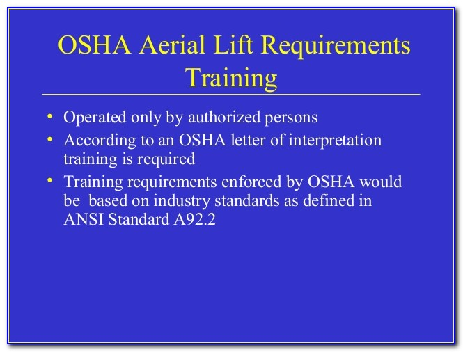 Osha Aerial Lift Certification Requirements