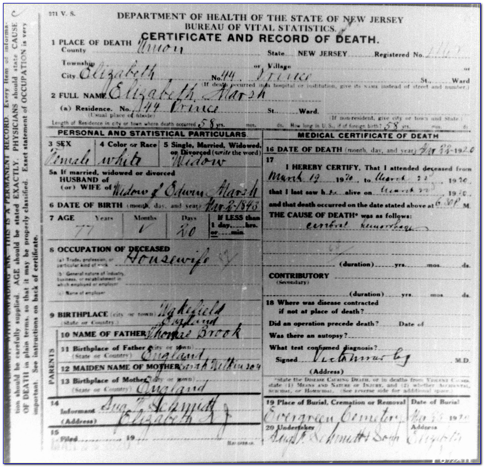 Paterson New Jersey Birth Certificate
