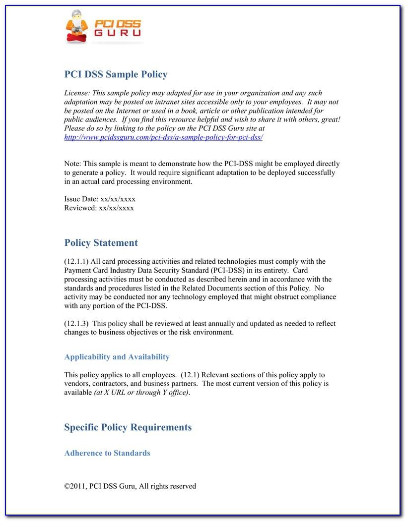 Pci Dss Compliance Policy Example