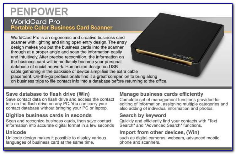 Penpower Worldcard Color Business Card Reader And Photo Scanner