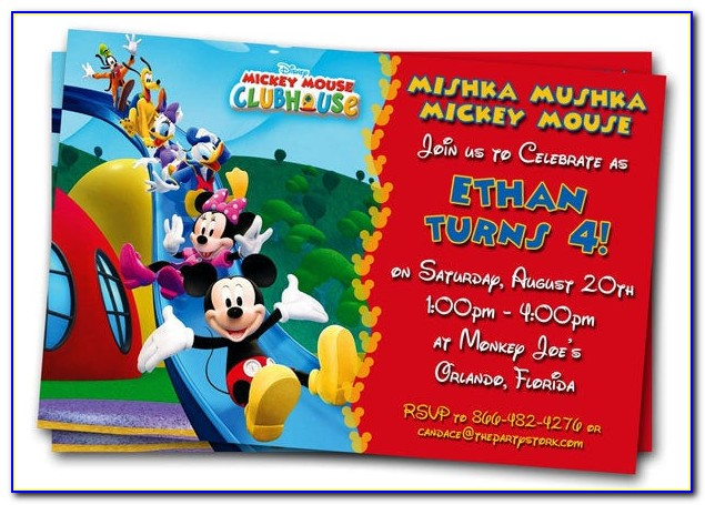 Personalized Free Editable Mickey Mouse Birthday Invitations