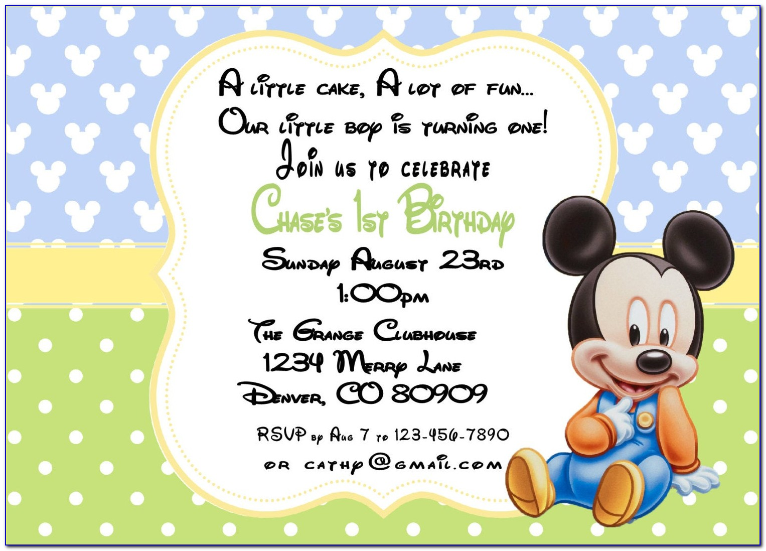 Personalized Mickey Mouse First Birthday Invitations