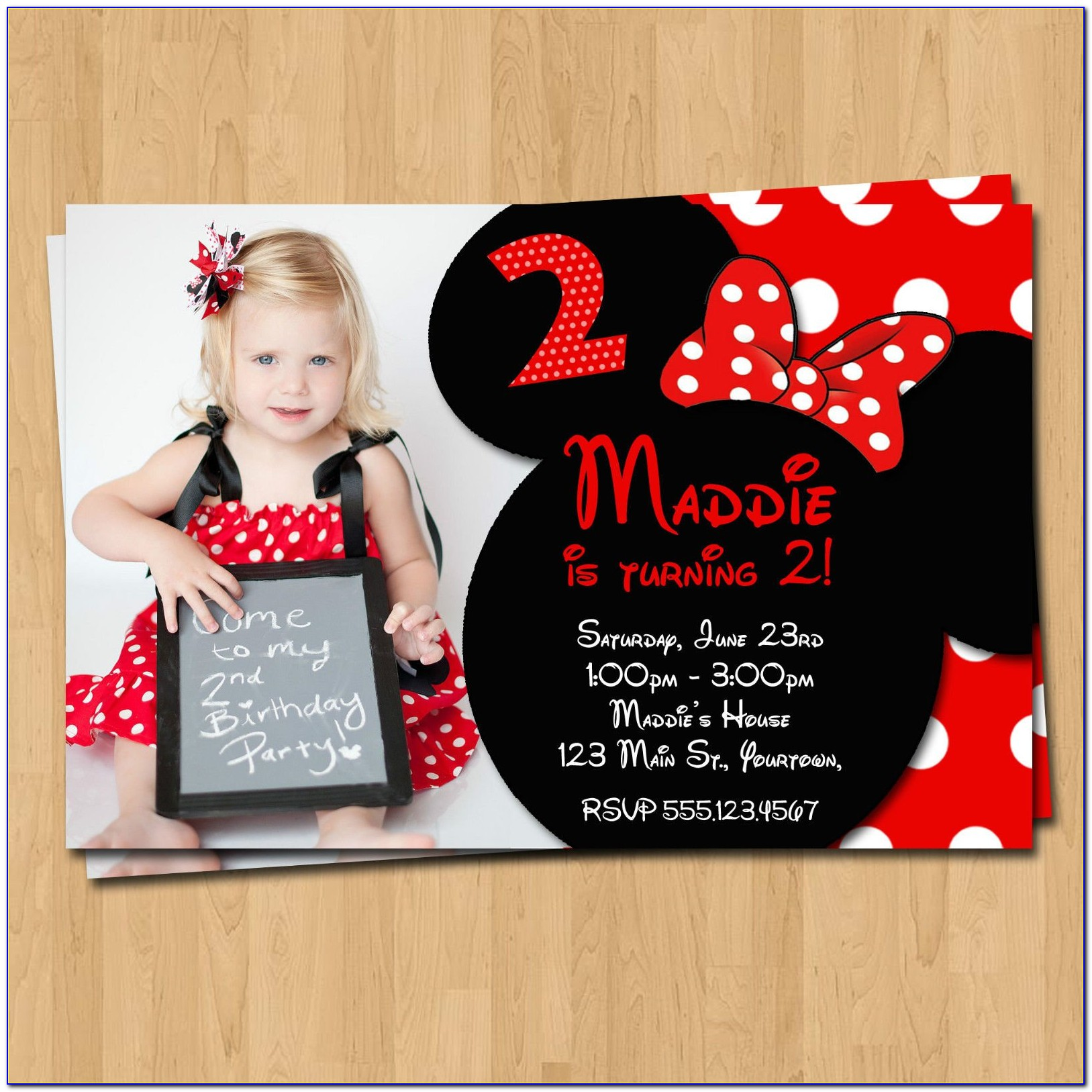 Personalized Minnie Mouse Birthday Invitations