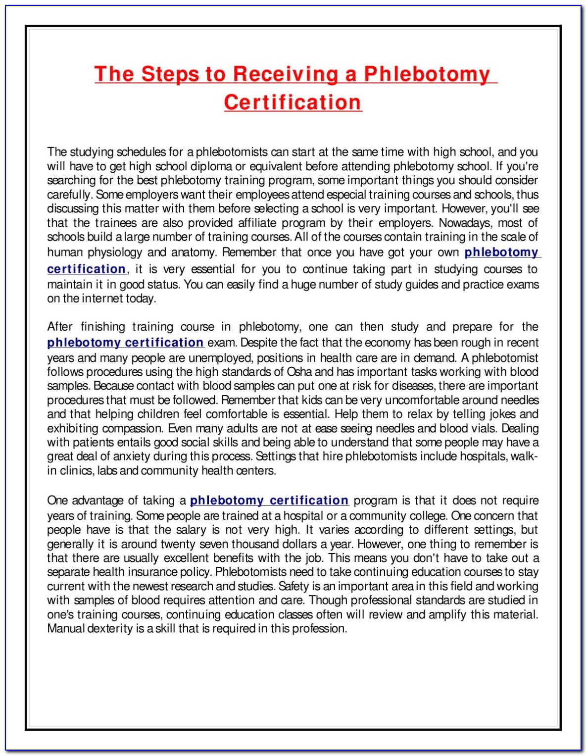 Phlebotomy Technician Certification In Mn