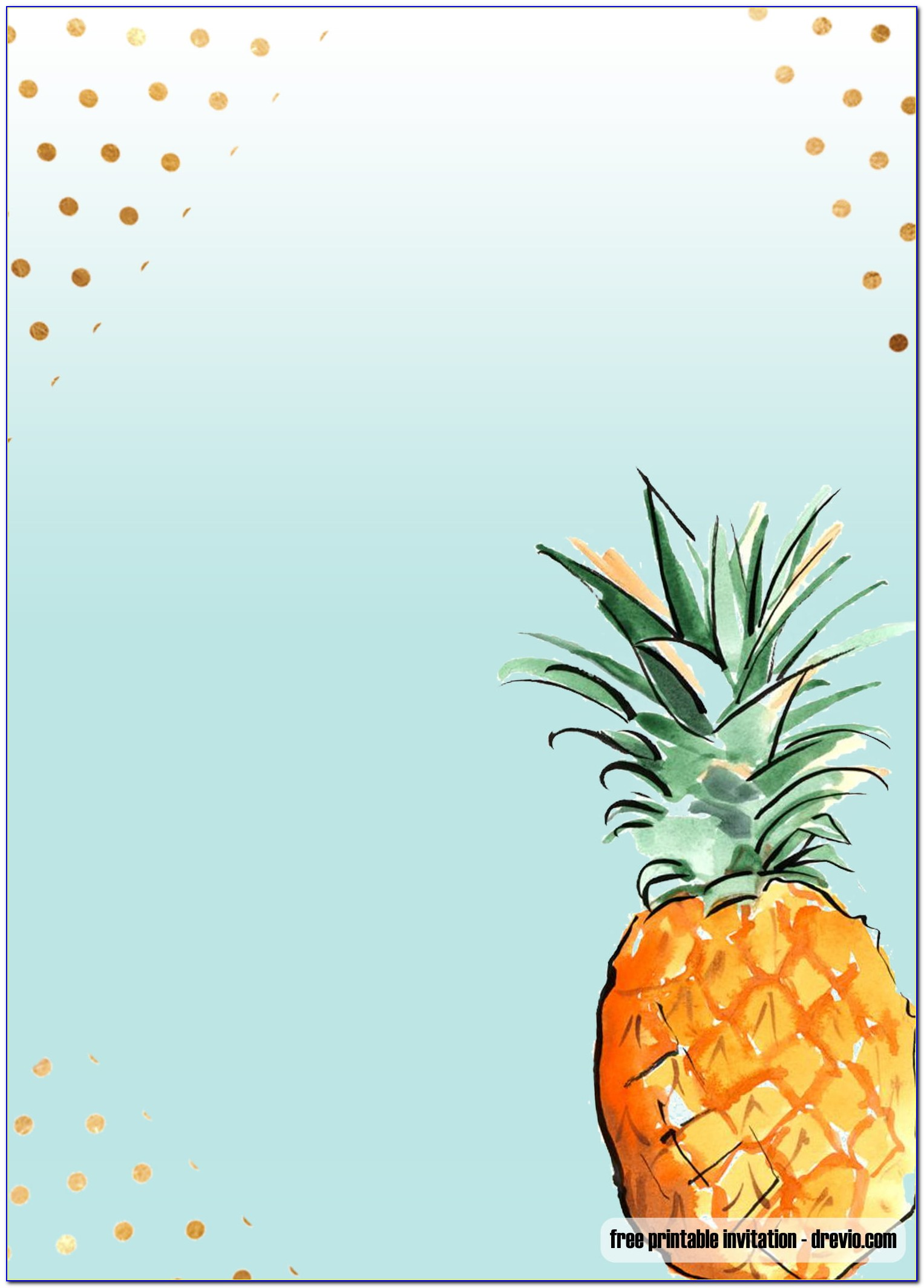 Pineapple First Birthday Invitations