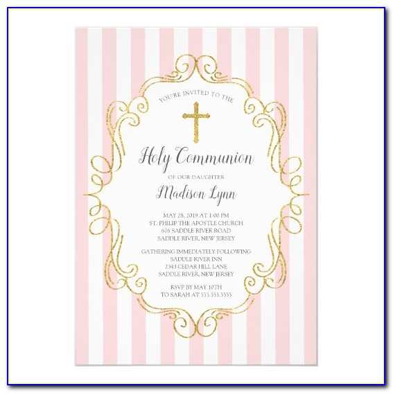 Pink And Gold Communion Invitations