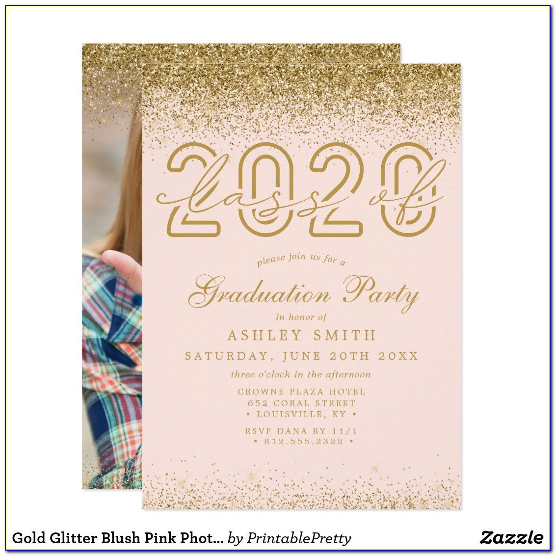 Pink And Gold Graduation Party Invite