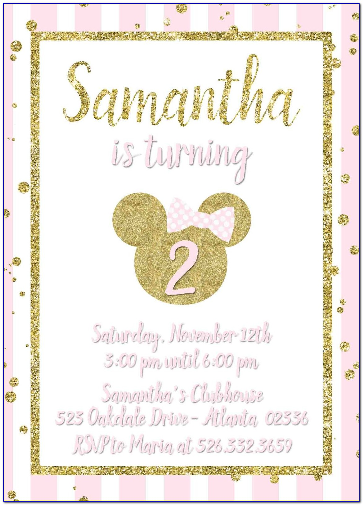 Pink And Gold Minnie Mouse Invitations Free
