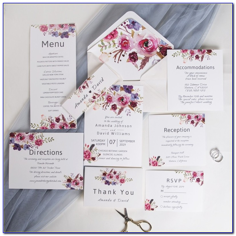 Pink And Purple First Birthday Invitations