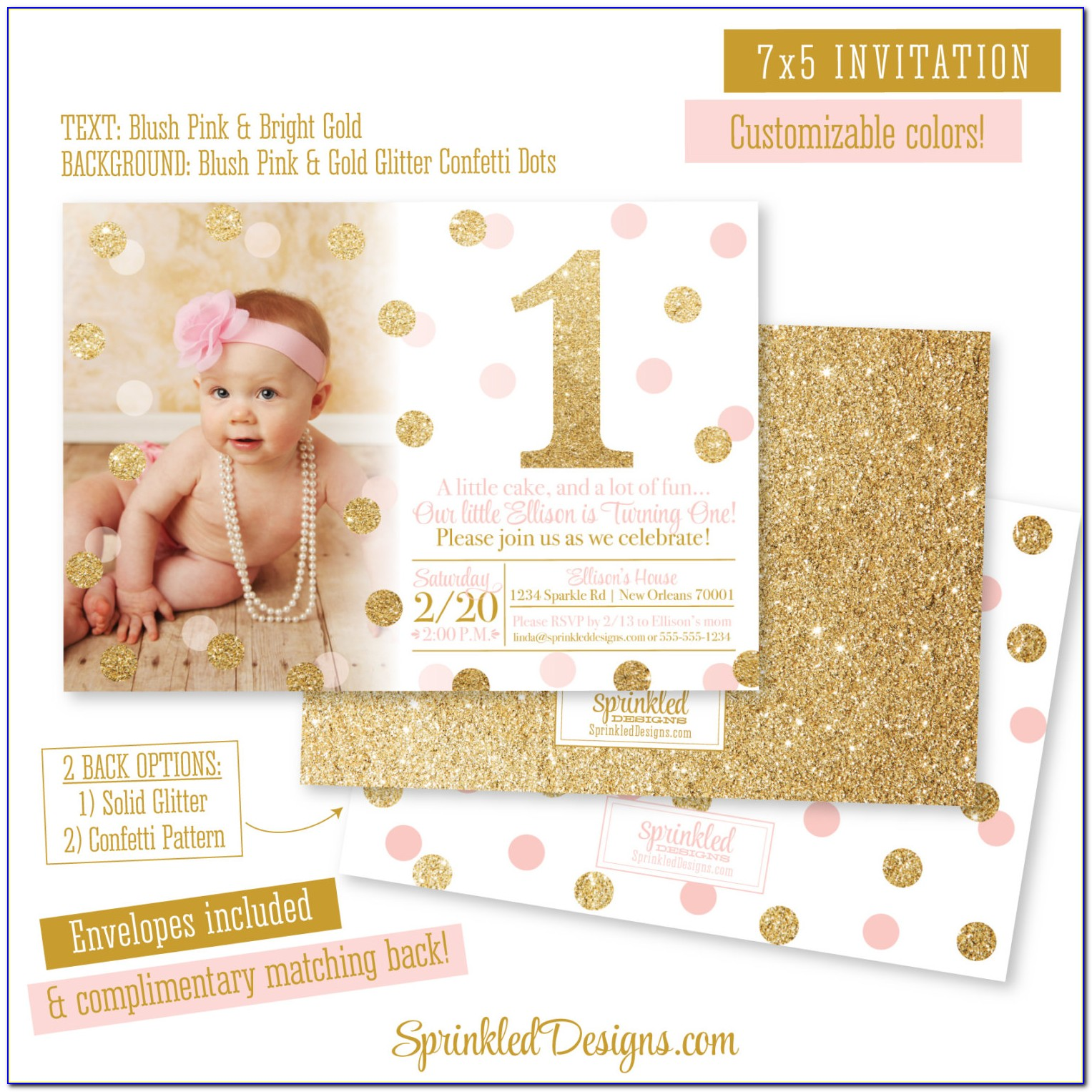 Pink And Rose Gold Wedding Invitations