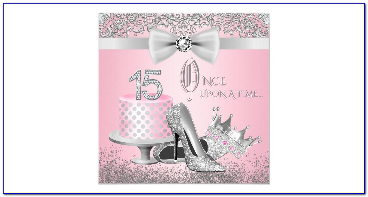 Pink And Silver Birthday Invitations