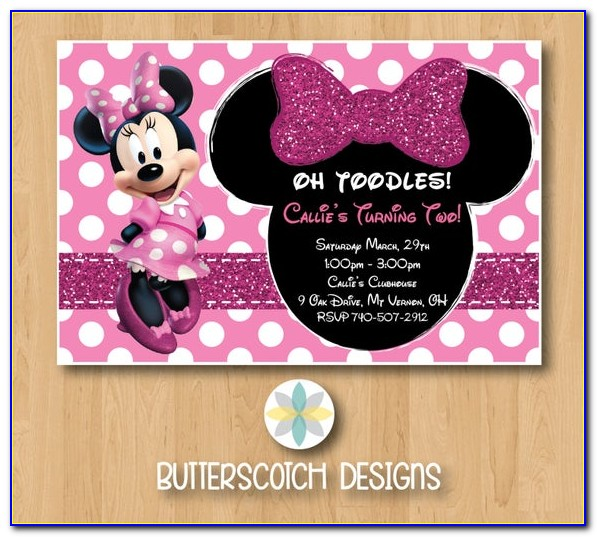 Pink Minnie Mouse Birthday Party Invitations