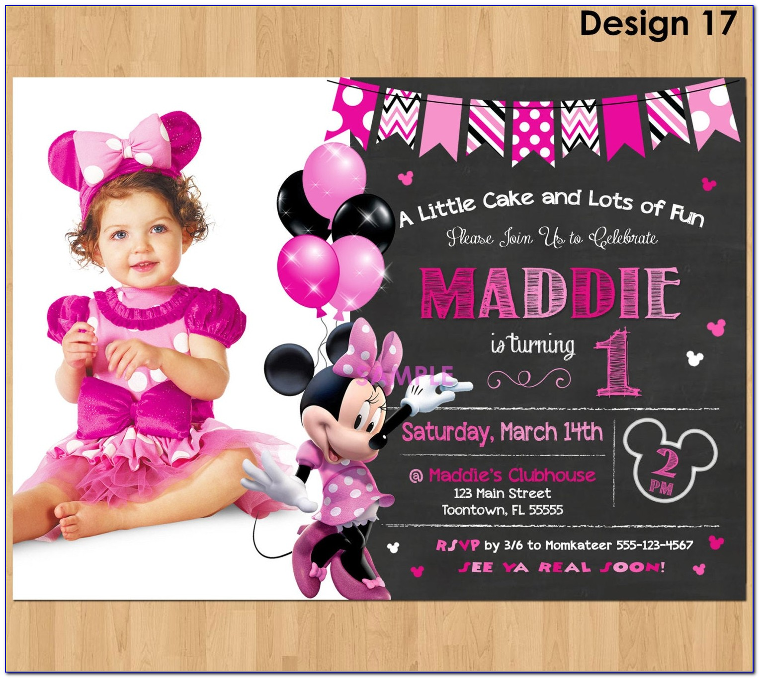 Pink Minnie Mouse Party Invitations