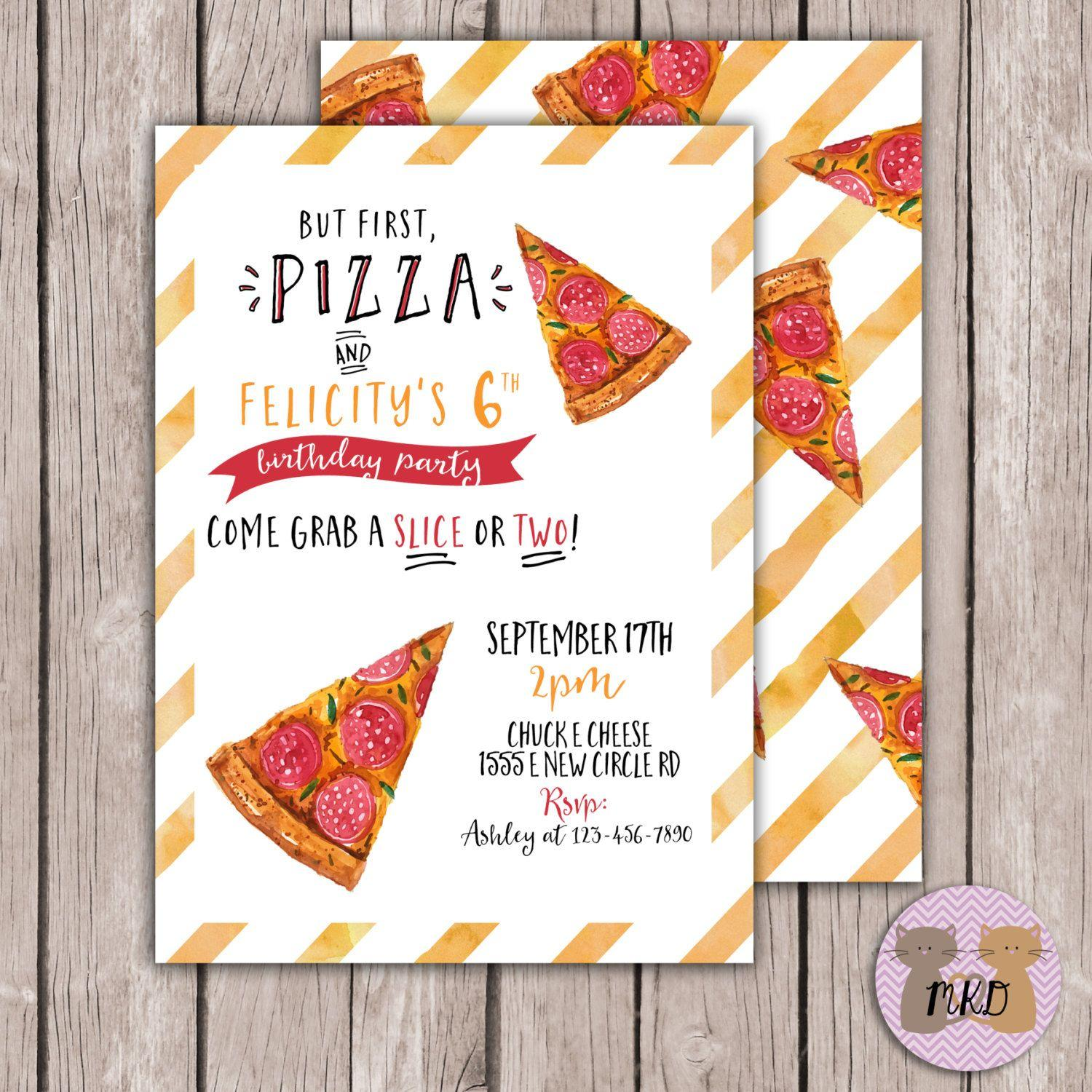 Pizza Party Invitation Cards