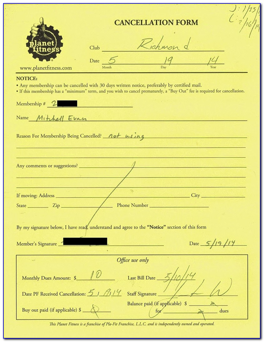 Planet Fitness Cancellation Letter Sample