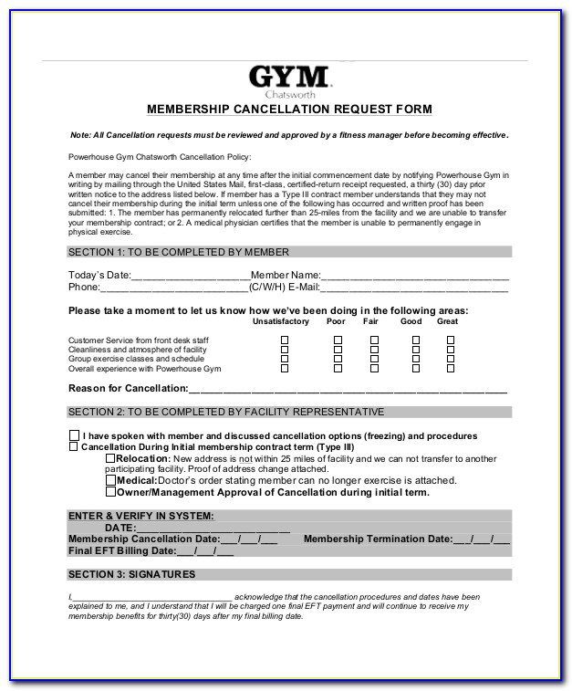 Planet Fitness Membership Cancellation Letter