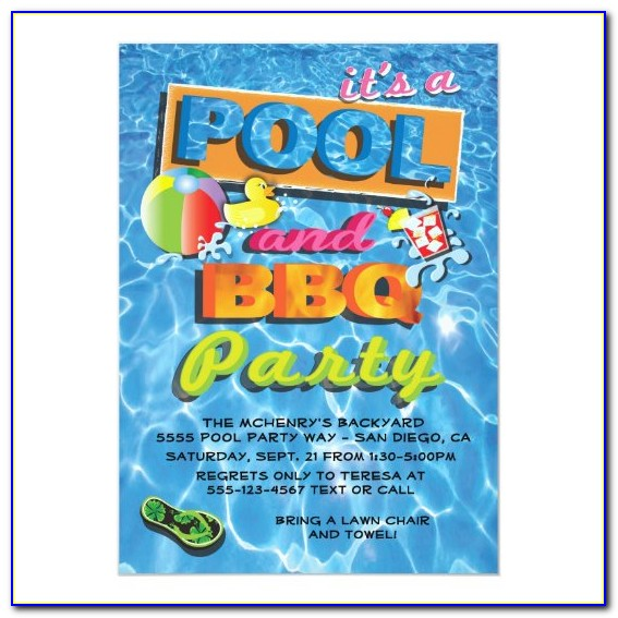 Pool Party And Bbq Invitation Wording