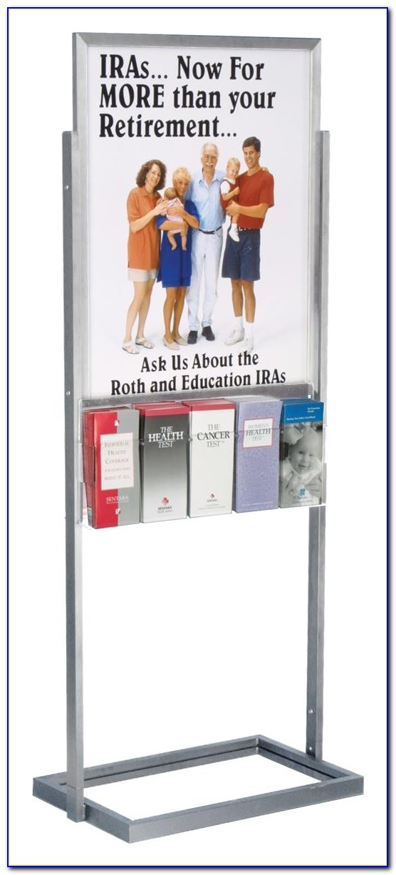Poster Display Stand With Brochure Holder