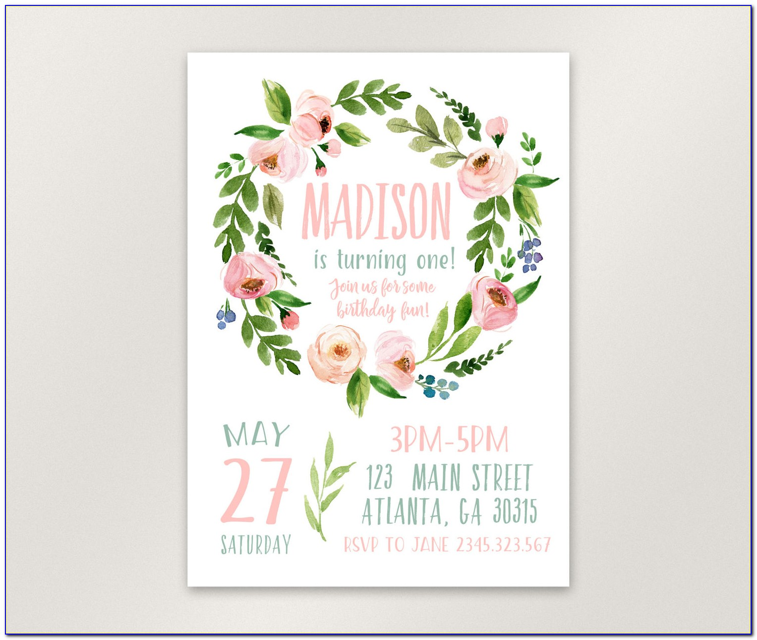 Printable Floral First Birthday Invitations