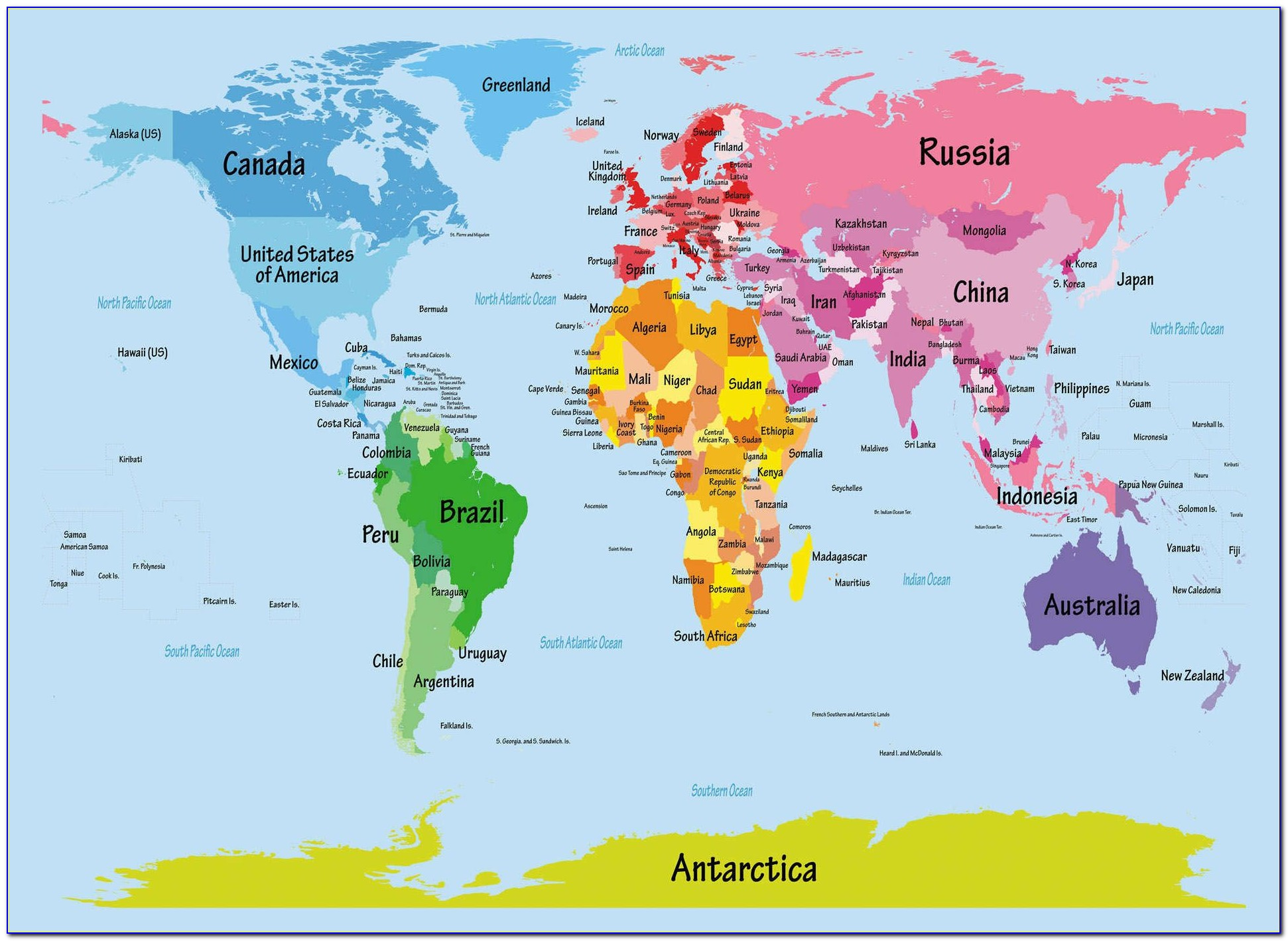 Printable World Map For Elementary Students