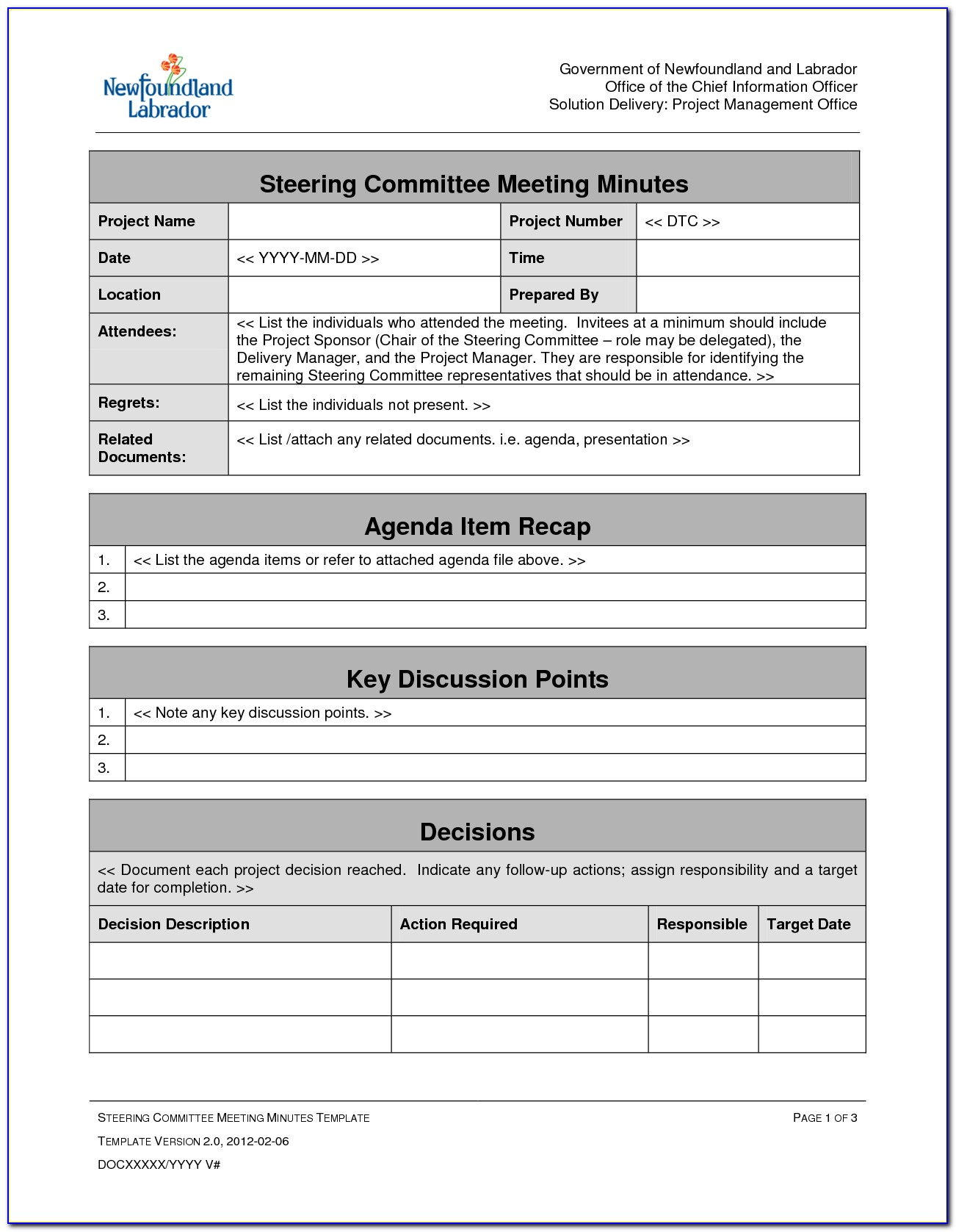 Project Management Meeting Agenda Minutes Template 1